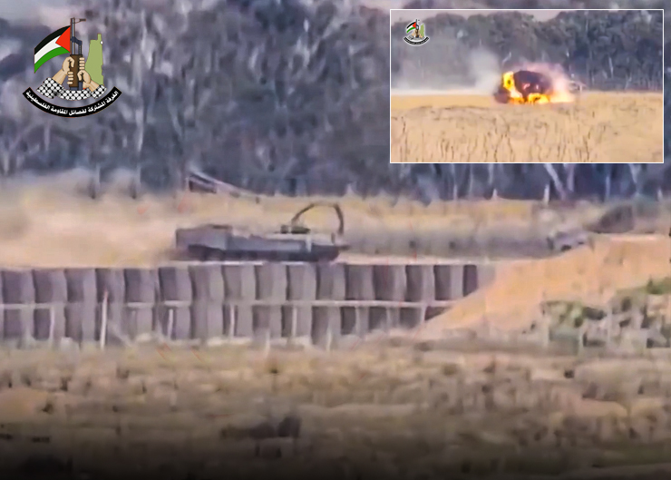 استهداف ناقلة جند بصاروخ كورنيت
